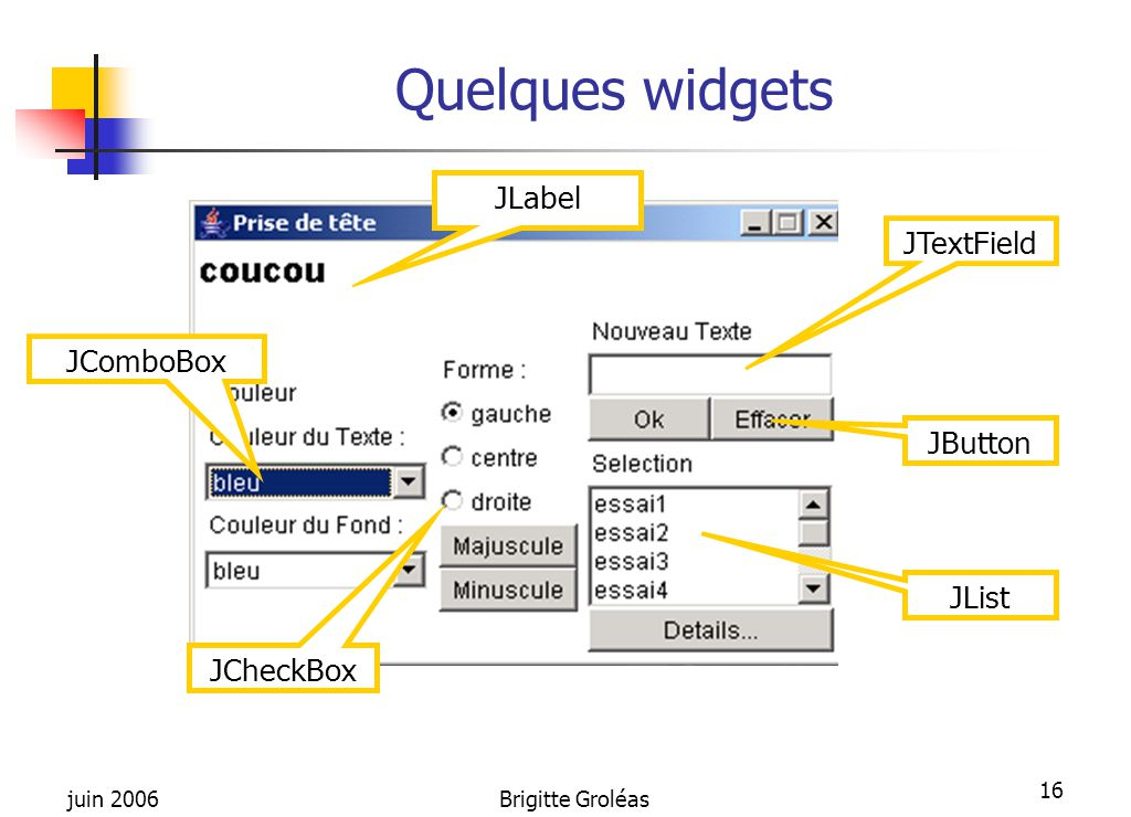 Quelques widgets JLabel JTextField JComboBox JButton JList JCheckBox