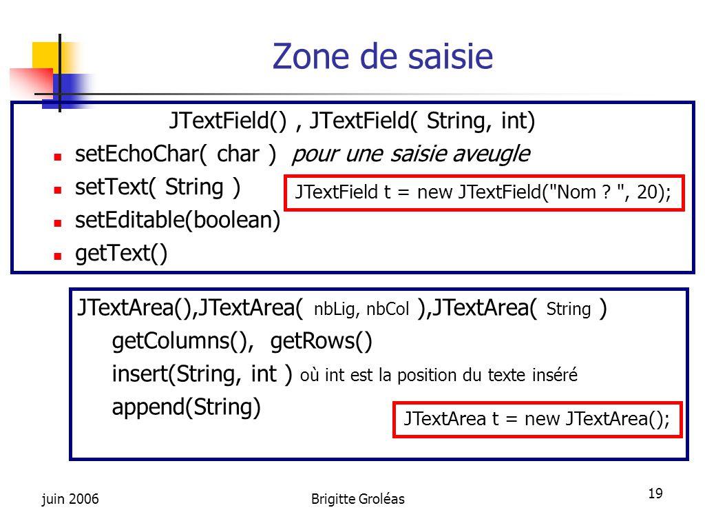 Zone de saisie JTextField() , JTextField( String, int)