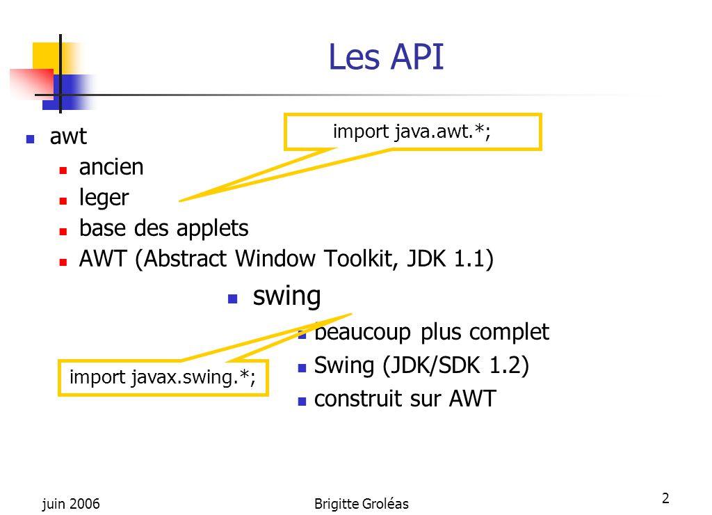 Les API swing awt ancien leger base des applets