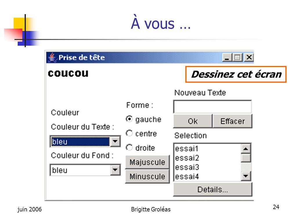 À vous … Dessinez cet écran juin 2006 Brigitte Groléas