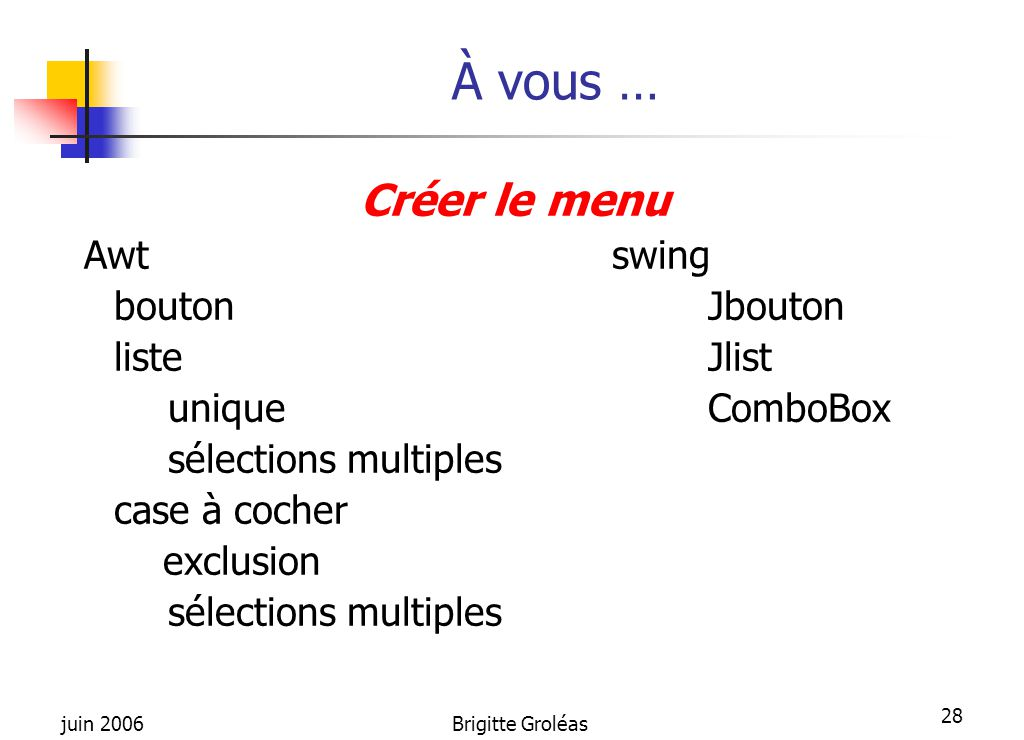 À vous … Créer le menu Awt swing bouton Jbouton liste Jlist