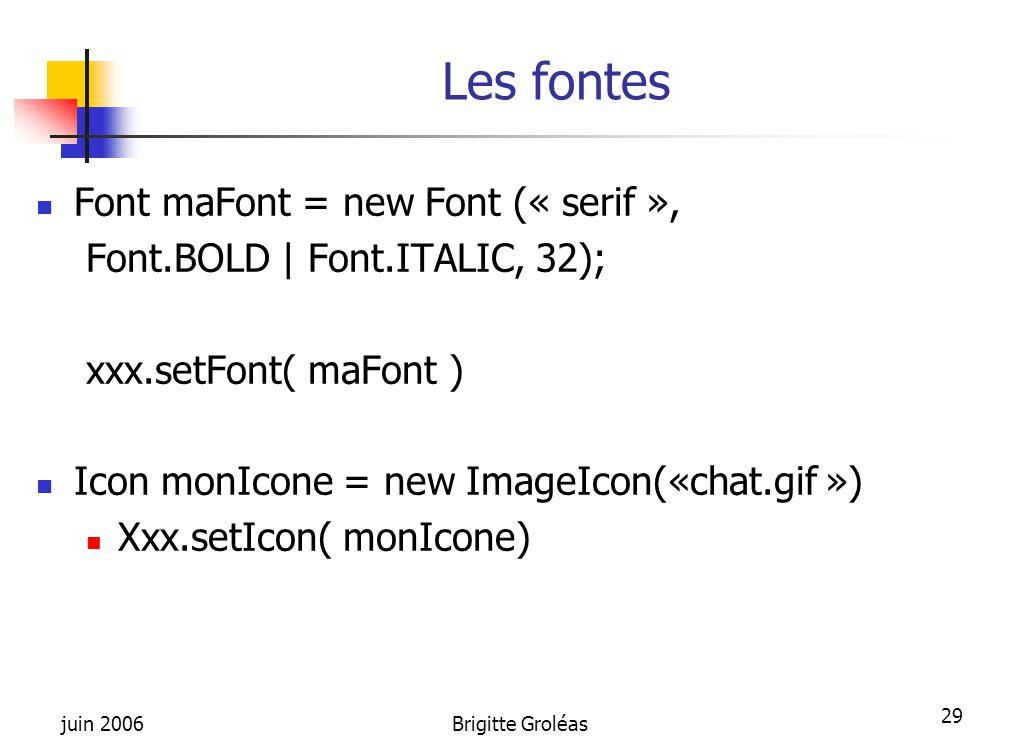 Les fontes Font maFont = new Font (« serif »,