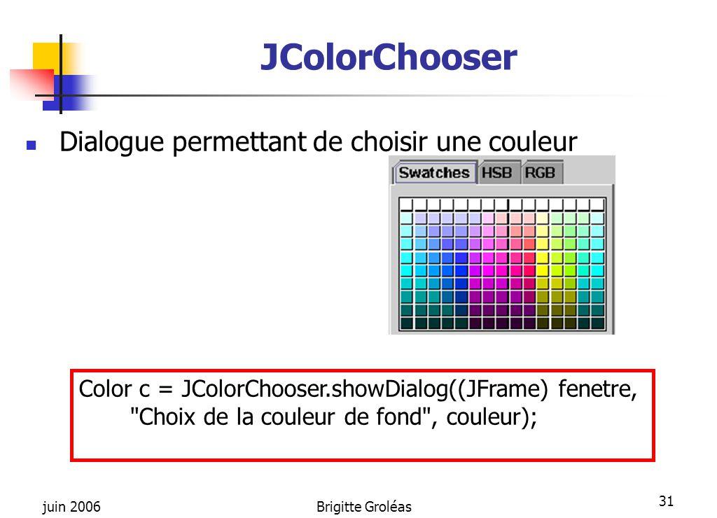 JColorChooser Dialogue permettant de choisir une couleur