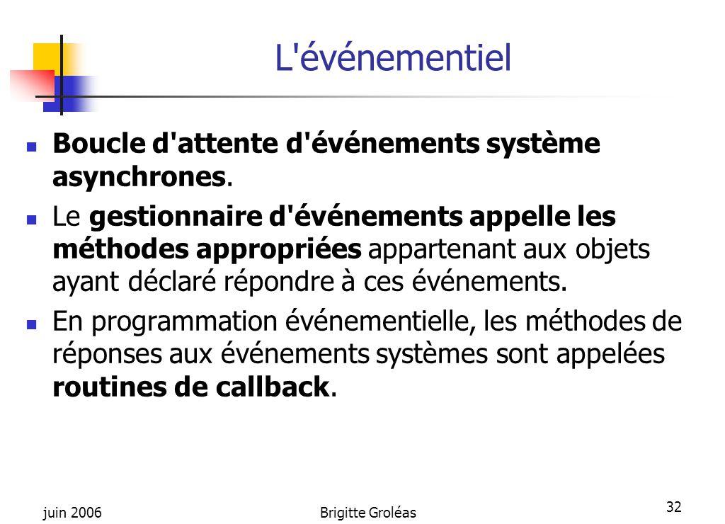L événementiel Boucle d attente d événements système asynchrones.