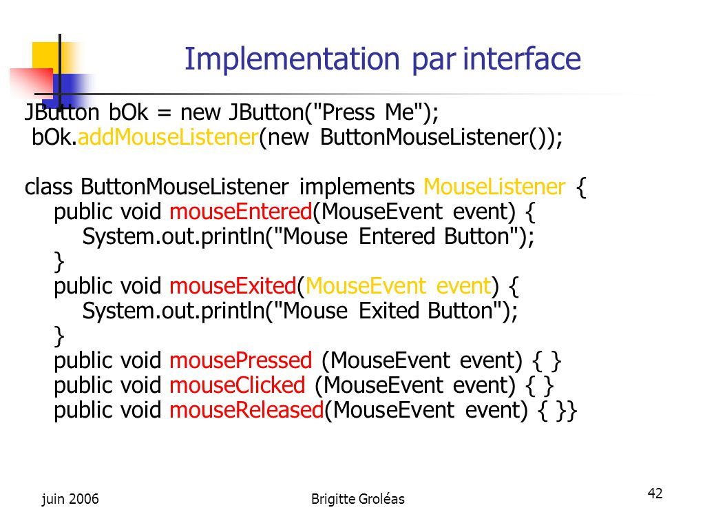 Implementation par interface