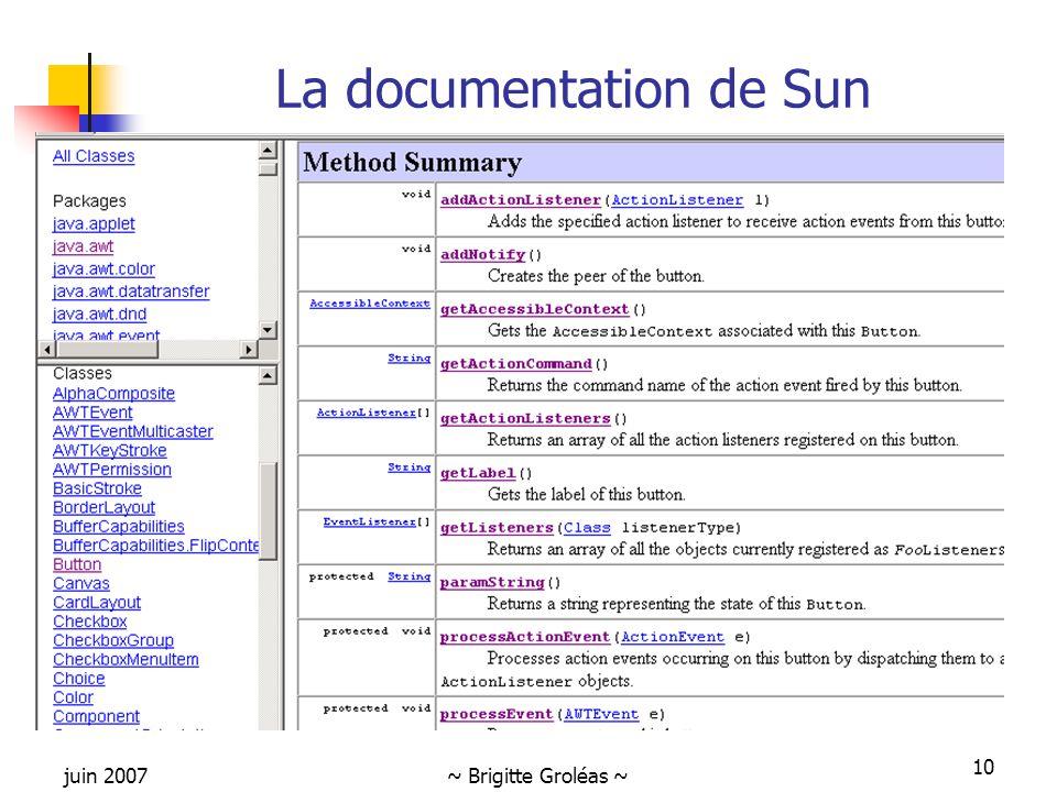 La documentation de Sun