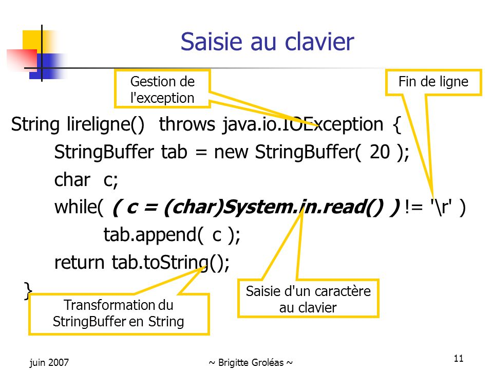 Saisie au clavier String lireligne() throws java.io.IOException {