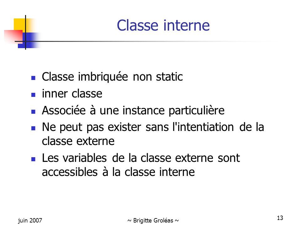 Classe interne Classe imbriquée non static inner classe