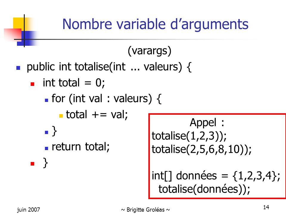 Nombre variable d'arguments