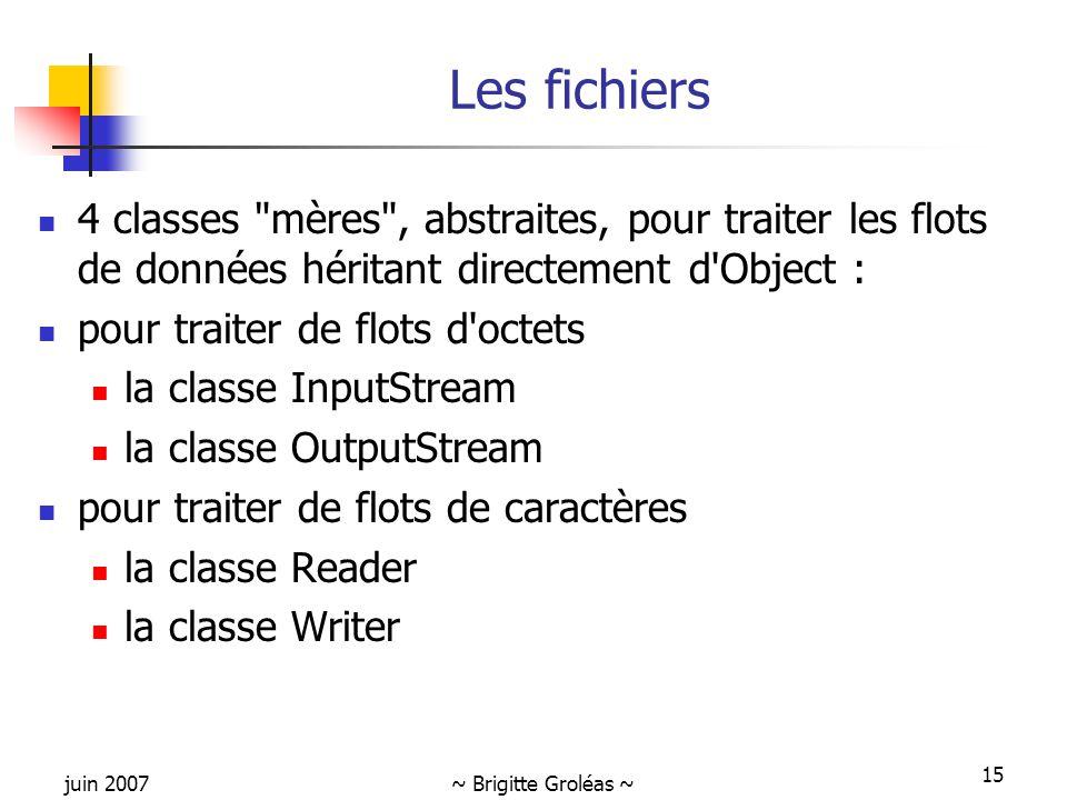 Les fichiers 4 classes mères , abstraites, pour traiter les flots de données héritant directement d Object :