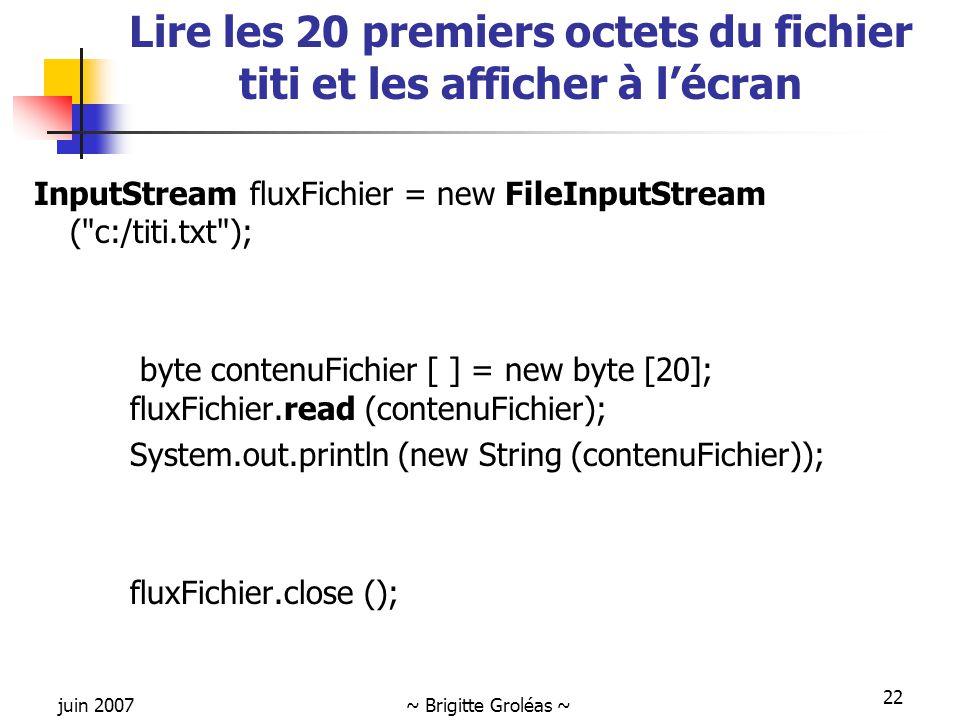 Lire les 20 premiers octets du fichier titi et les afficher à l'écran