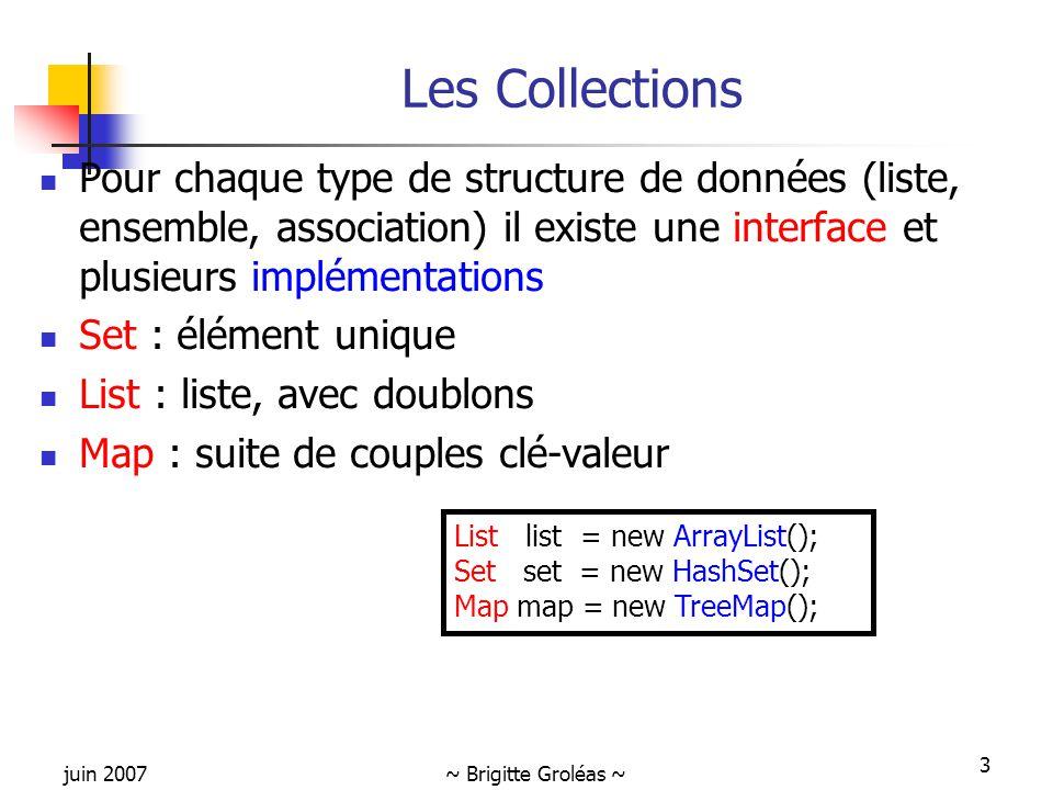 Les Collections Pour chaque type de structure de données (liste, ensemble, association) il existe une interface et plusieurs implémentations.