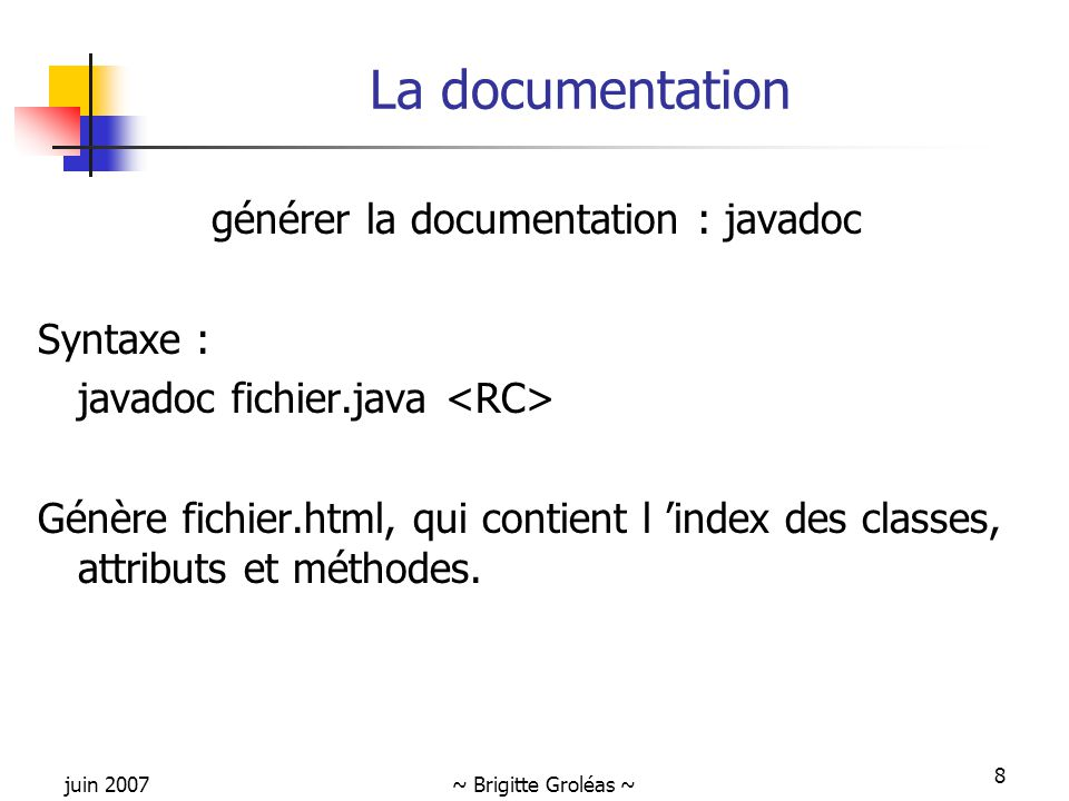 générer la documentation : javadoc