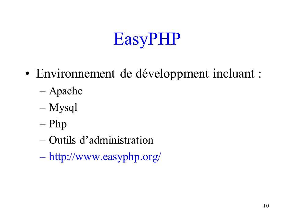 EasyPHP Environnement de développment incluant : Apache Mysql Php