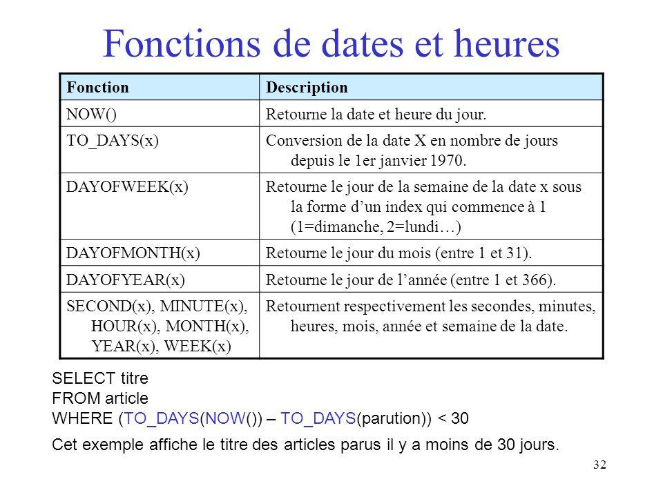 Fonctions de dates et heures