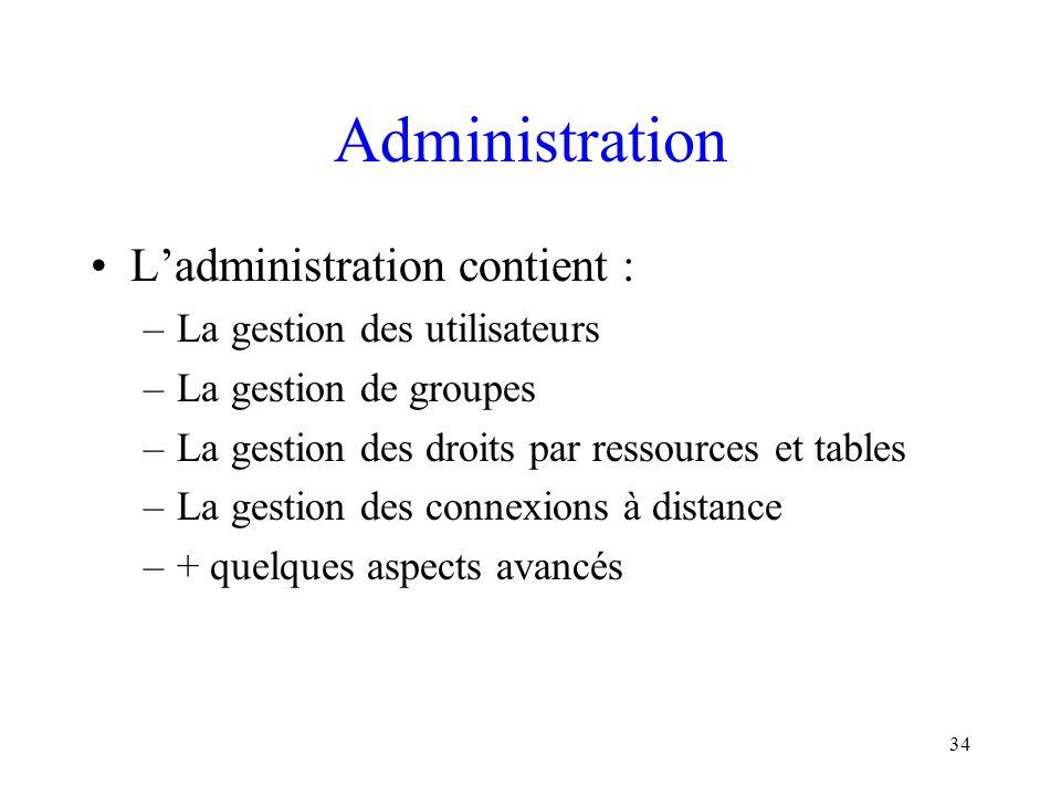 Administration L'administration contient : La gestion des utilisateurs