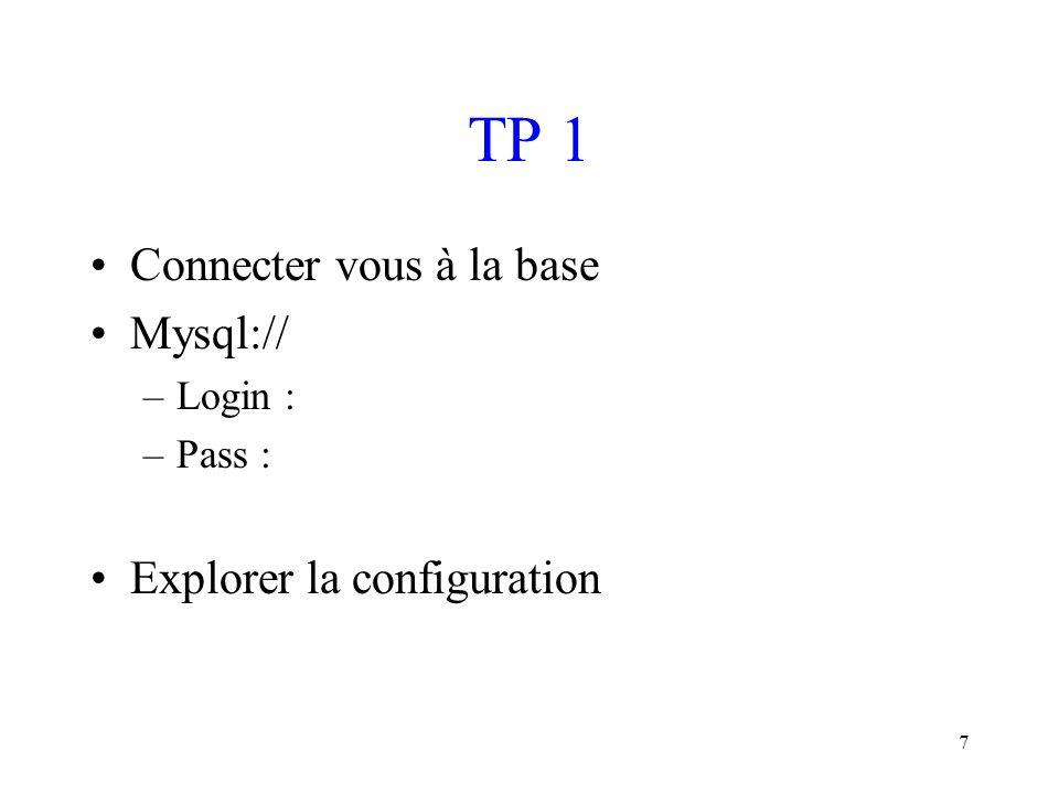 TP 1 Connecter vous à la base Mysql:// Explorer la configuration