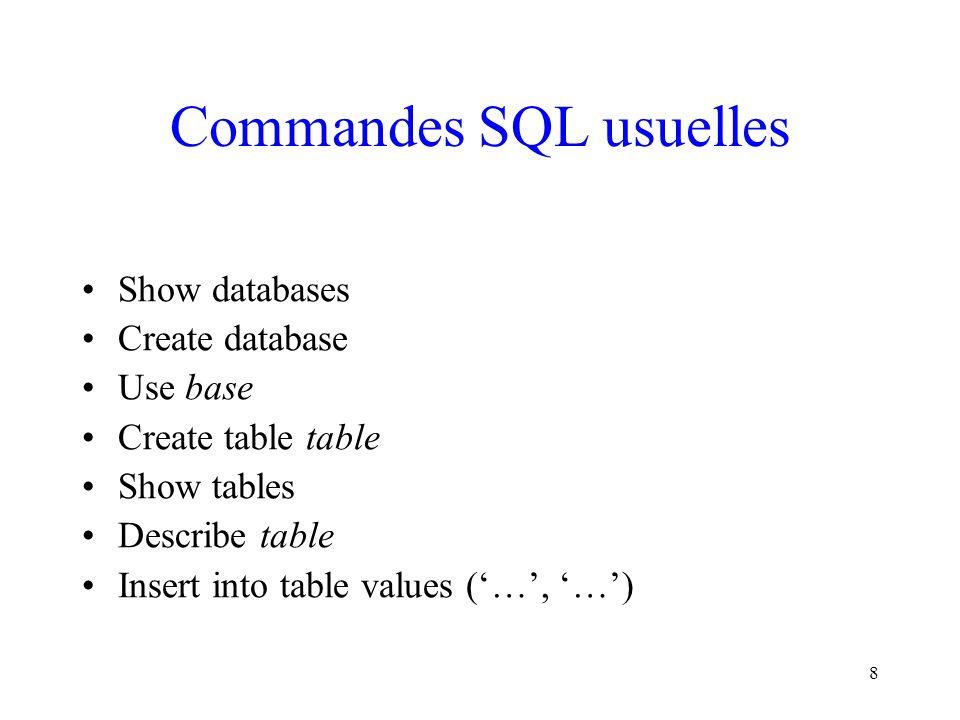 Commandes SQL usuelles