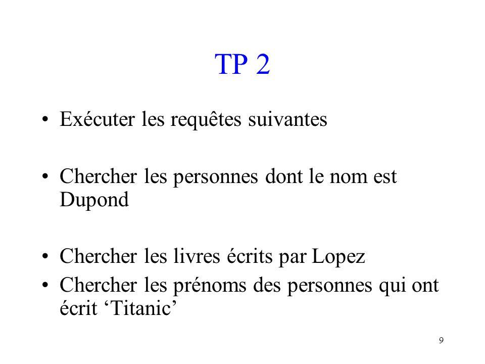 TP 2 Exécuter les requêtes suivantes