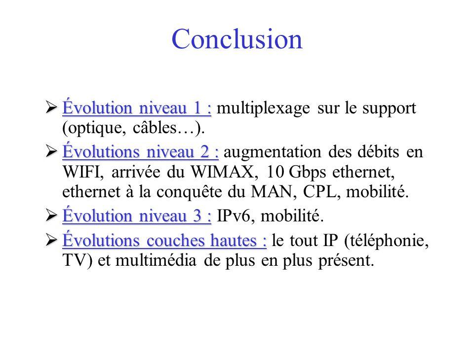 Conclusion Évolution niveau 1 : multiplexage sur le support (optique, câbles…).
