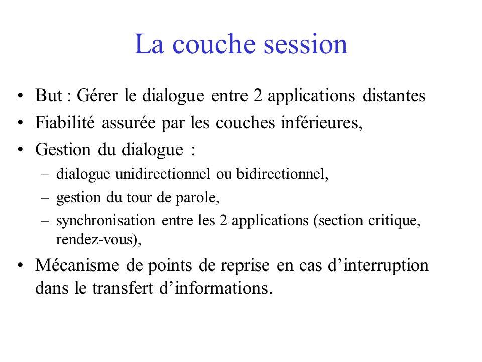 La couche session But : Gérer le dialogue entre 2 applications distantes. Fiabilité assurée par les couches inférieures,