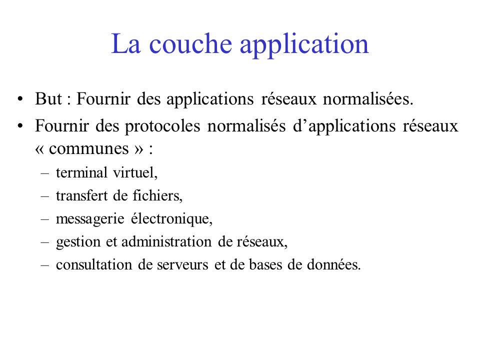 La couche application But : Fournir des applications réseaux normalisées. Fournir des protocoles normalisés d'applications réseaux « communes » :