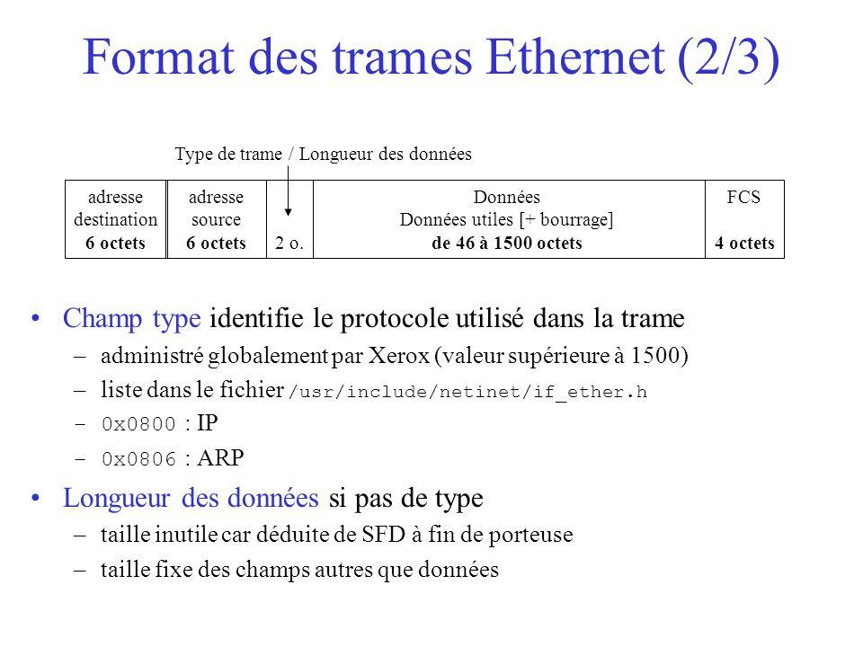 Format des trames Ethernet (2/3)