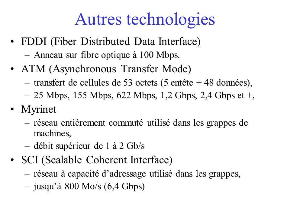 Autres technologies FDDI (Fiber Distributed Data Interface)