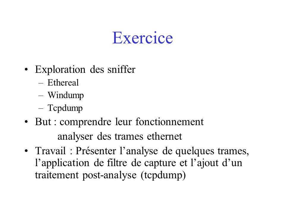 Exercice Exploration des sniffer But : comprendre leur fonctionnement