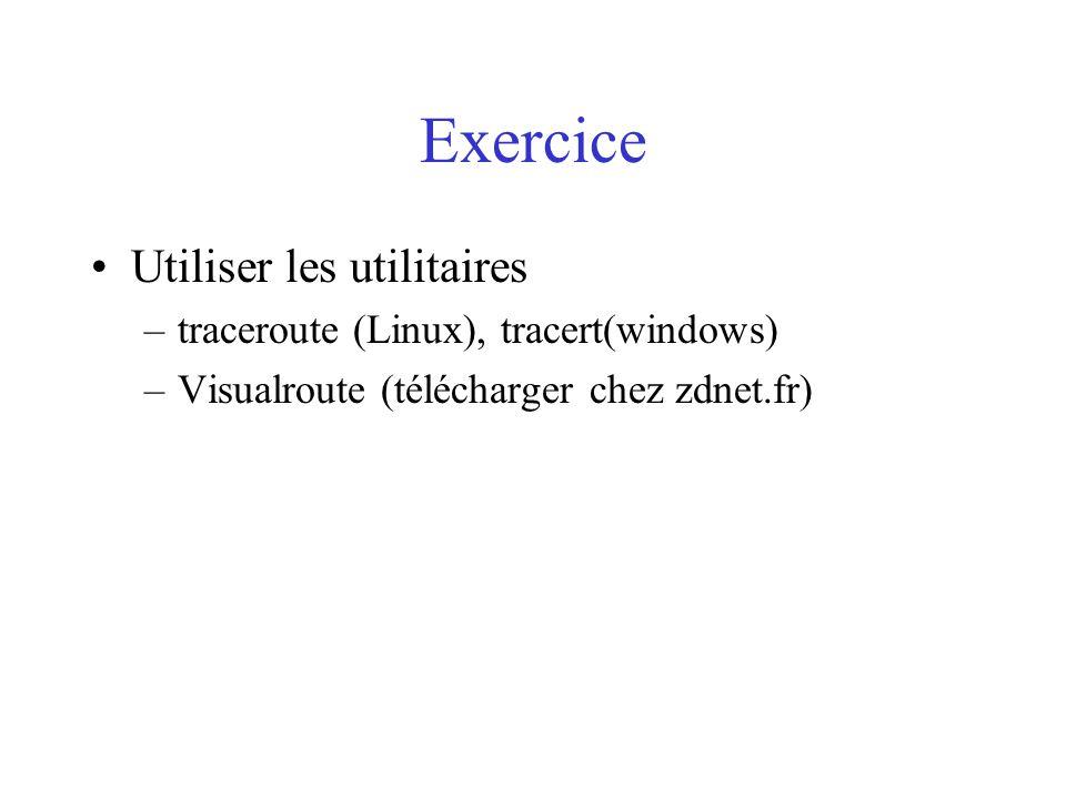 Exercice Utiliser les utilitaires traceroute (Linux), tracert(windows)