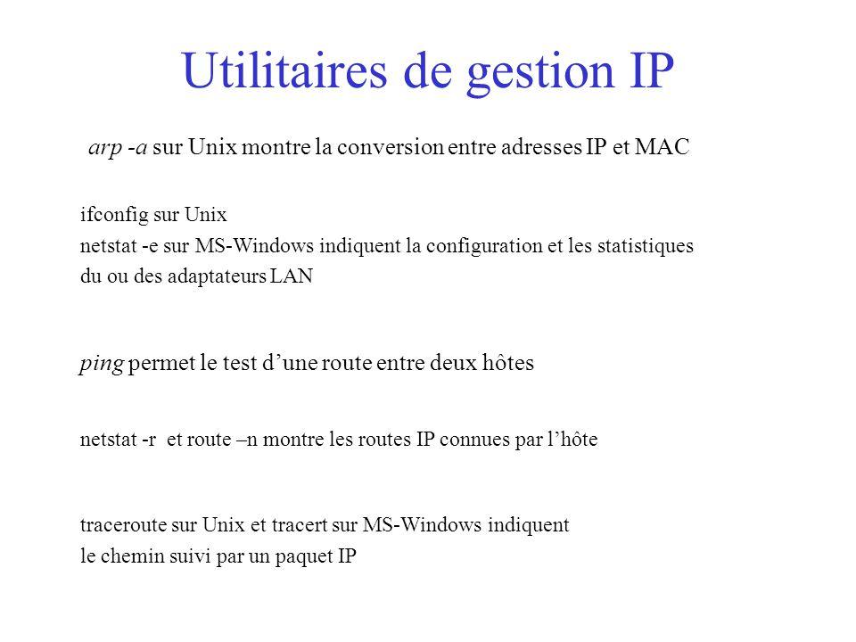 Utilitaires de gestion IP