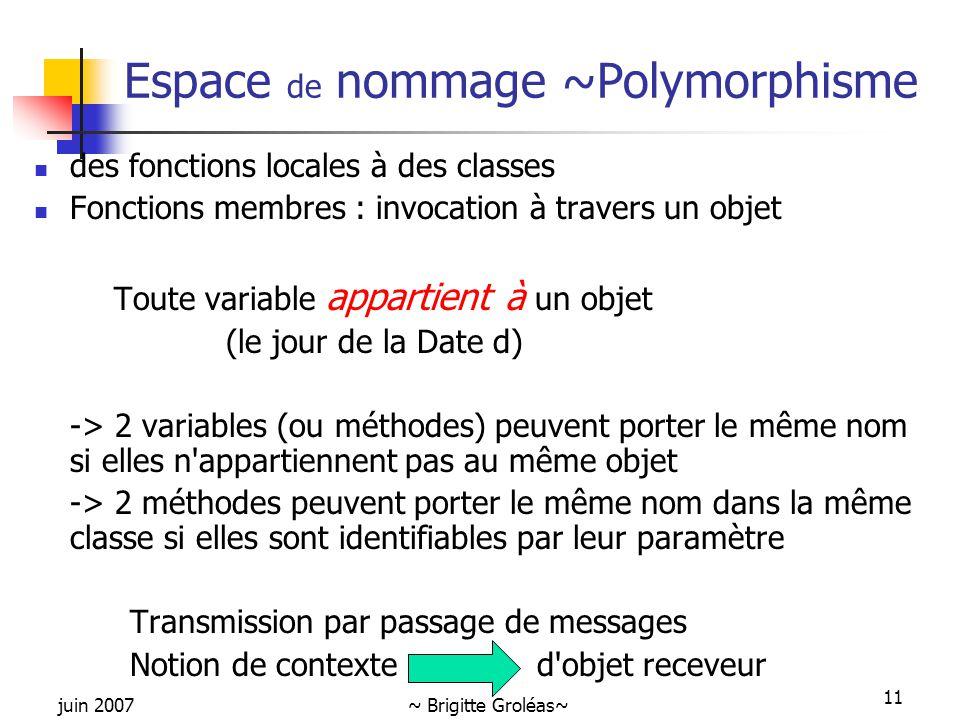Espace de nommage ~Polymorphisme