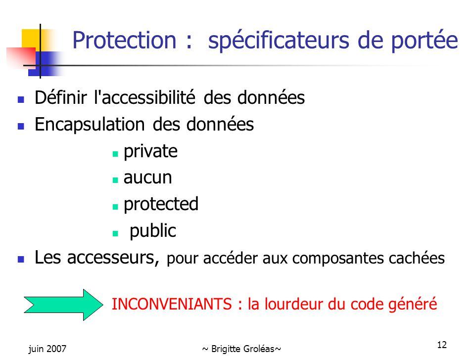Protection : spécificateurs de portée