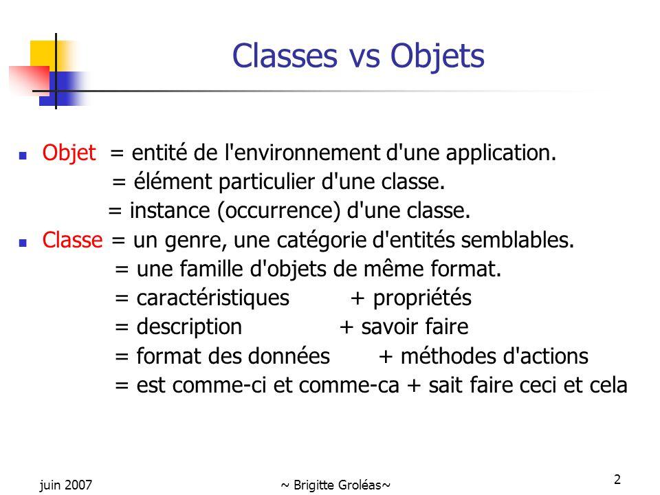 Classes vs Objets Objet = entité de l environnement d une application.