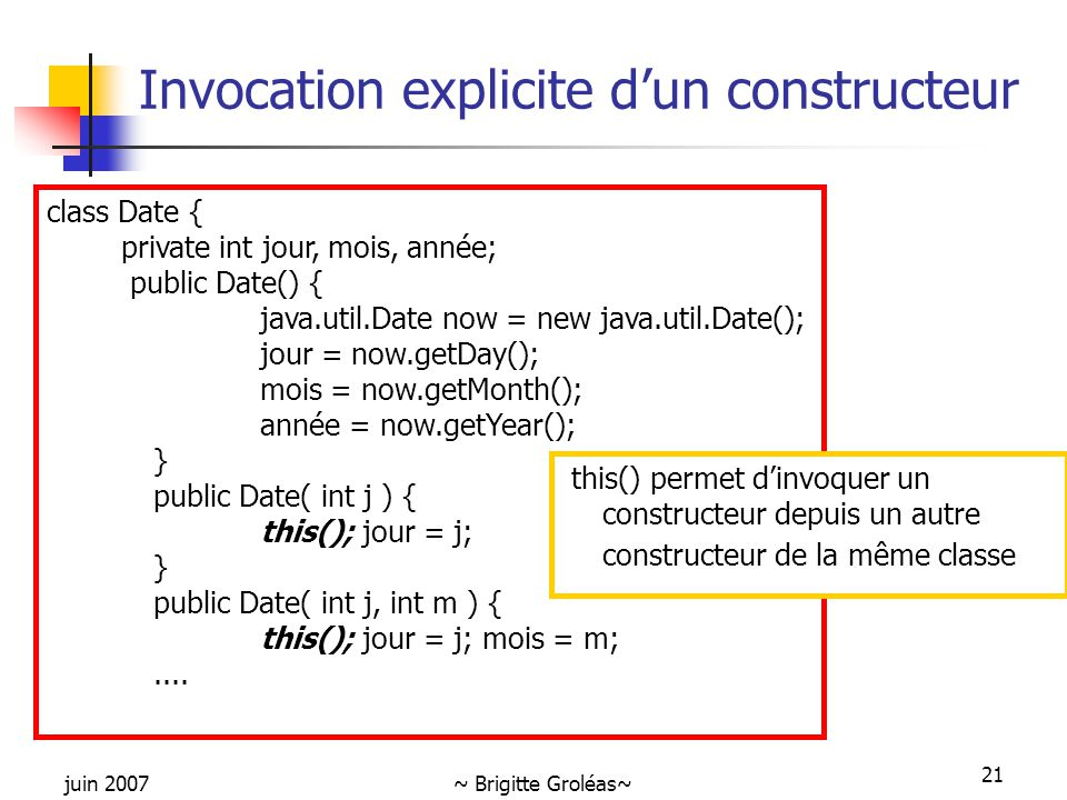 Invocation explicite d'un constructeur