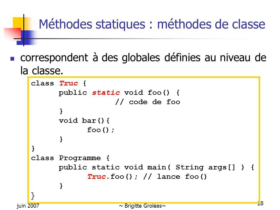 Méthodes statiques : méthodes de classe