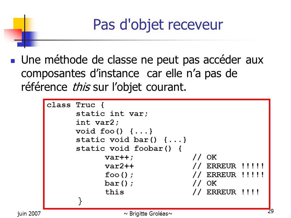 Pas d objet receveur Une méthode de classe ne peut pas accéder aux composantes d'instance car elle n'a pas de référence this sur l'objet courant.