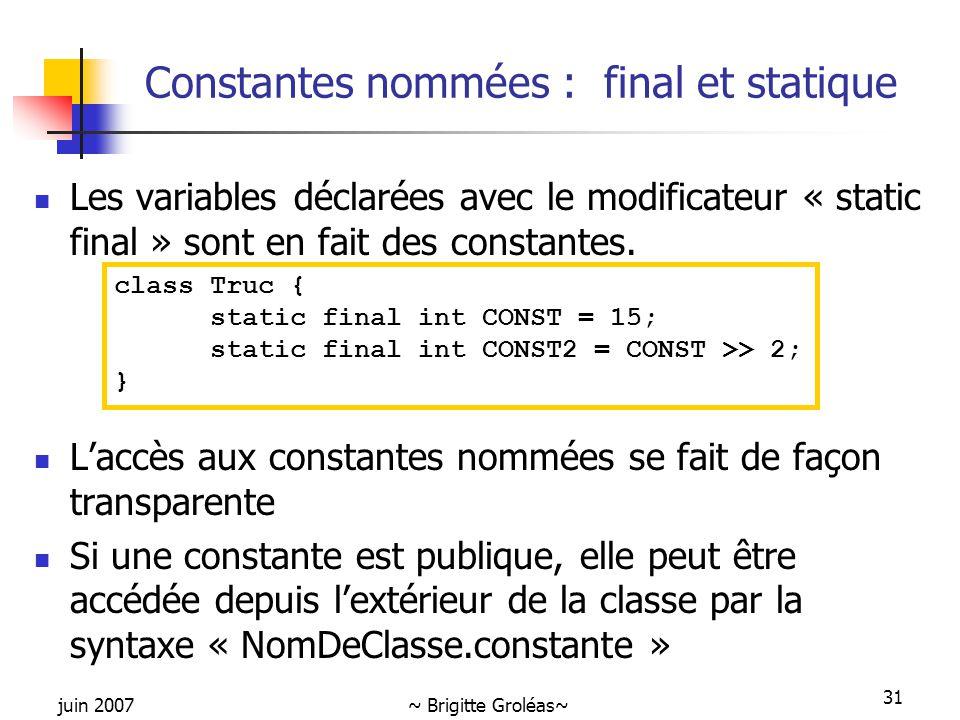 Constantes nommées : final et statique