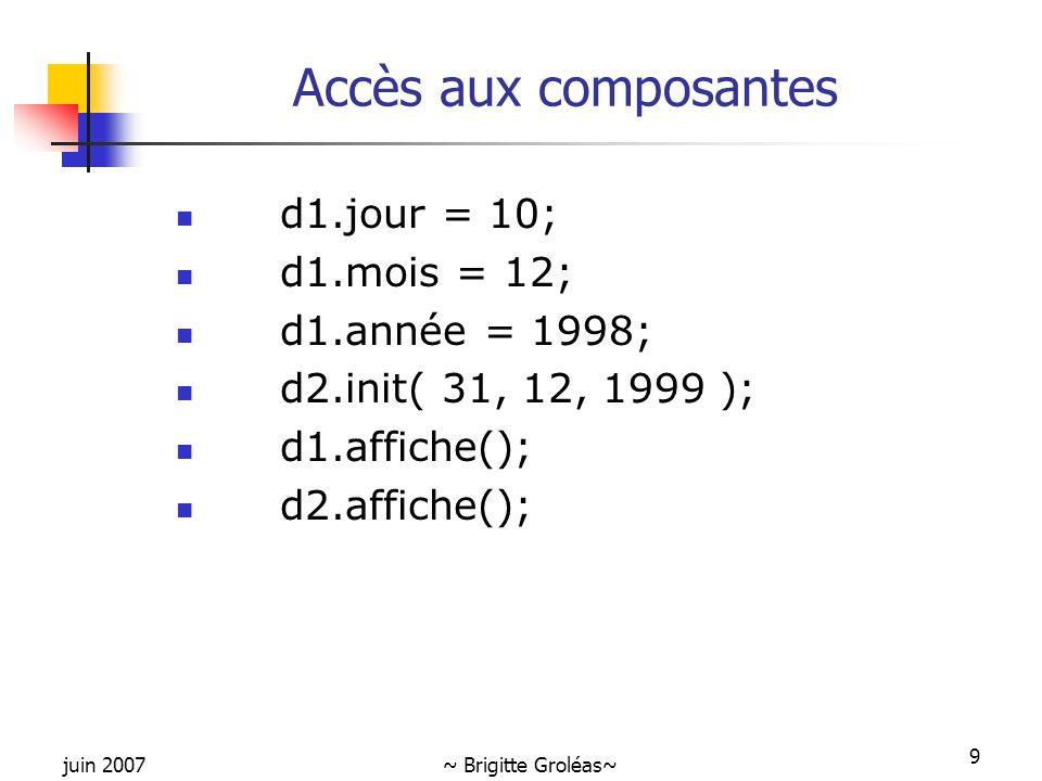 Accès aux composantes d1.jour = 10; d1.mois = 12; d1.année = 1998;