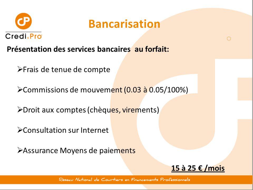 Bancarisation Présentation des services bancaires au forfait: