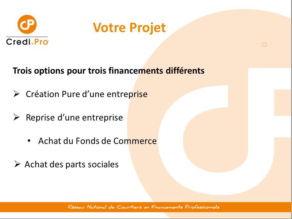 Votre Projet Trois options pour trois financements différents