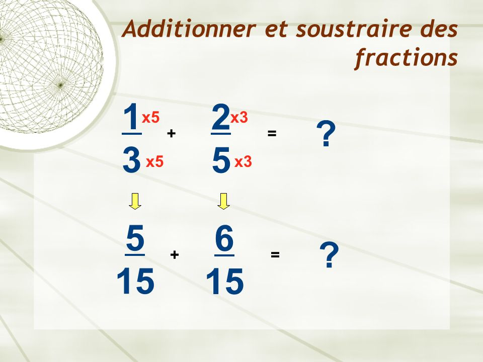 Additionner et soustraire des fractions