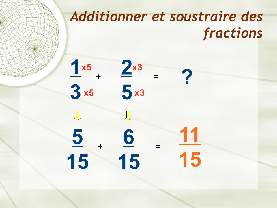 Additionner et soustraire des fractions