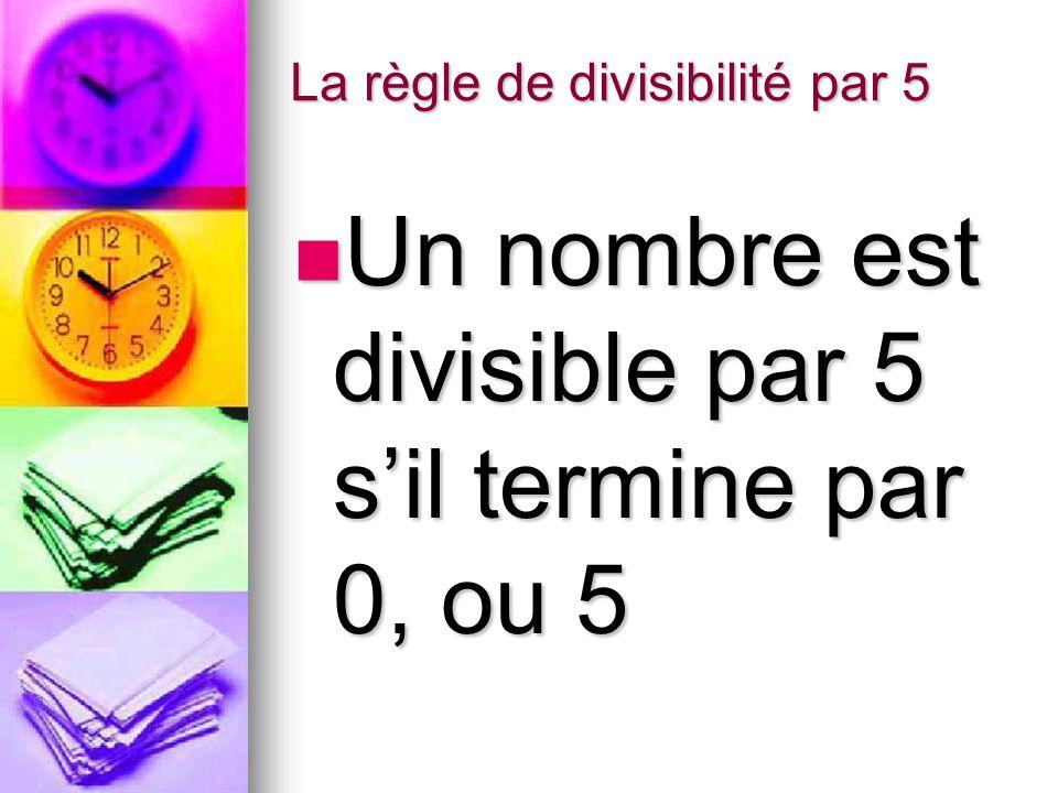 La règle de divisibilité par 5