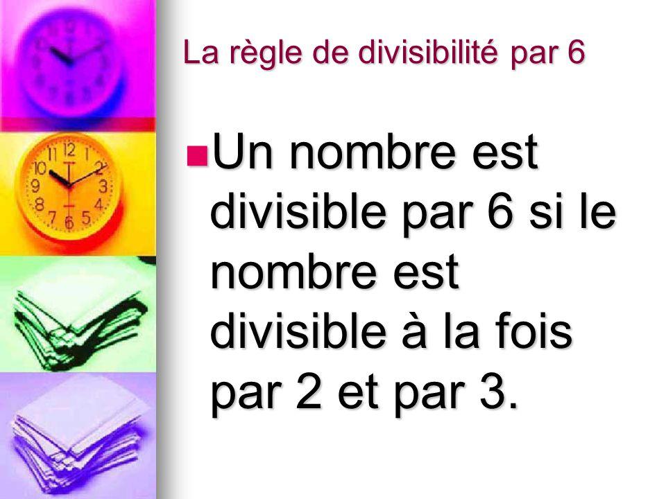La règle de divisibilité par 6