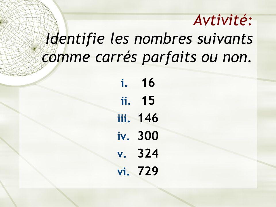 Avtivité: Identifie les nombres suivants comme carrés parfaits ou non.