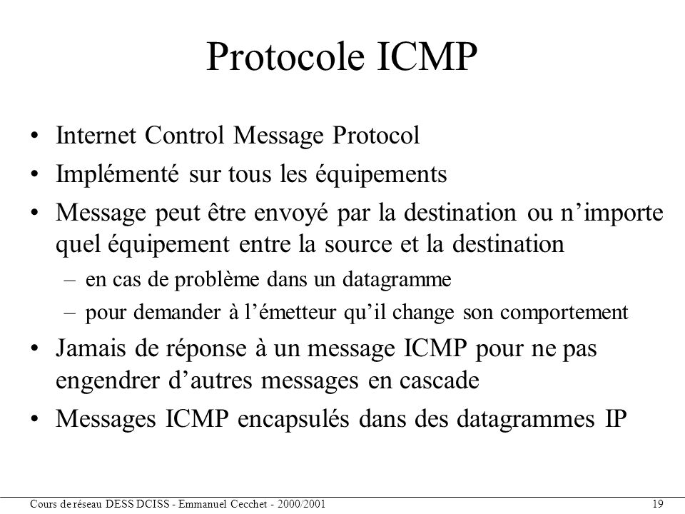 Protocole ICMP Internet Control Message Protocol