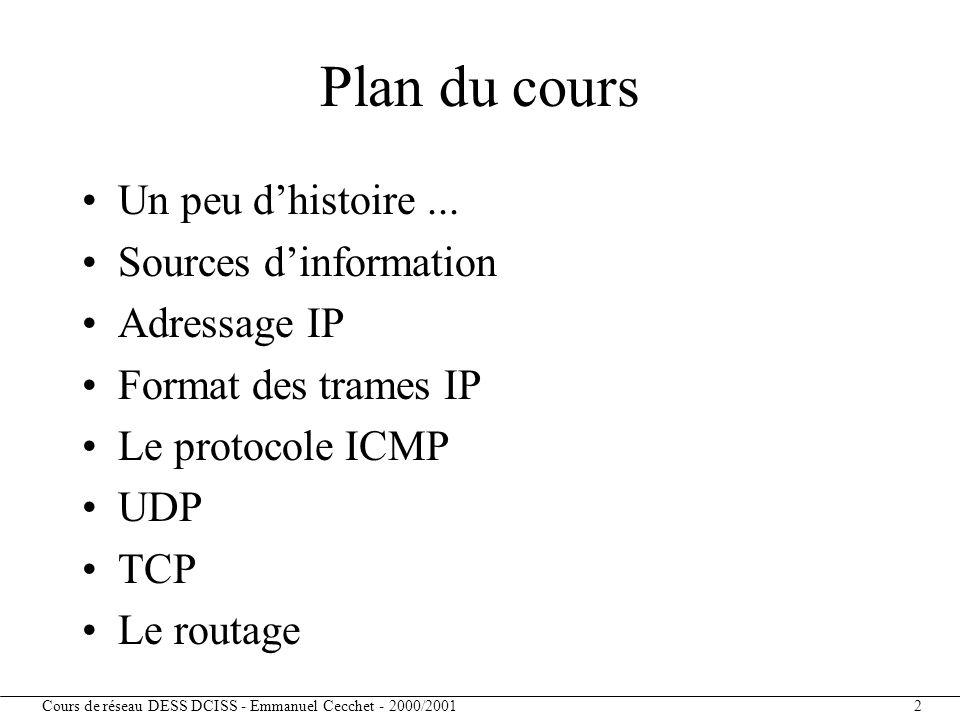 Plan du cours Un peu d'histoire ... Sources d'information Adressage IP