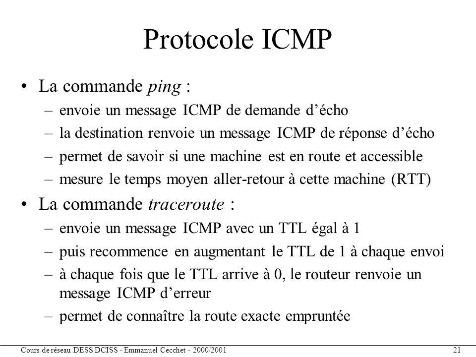 Protocole ICMP La commande ping : La commande traceroute :