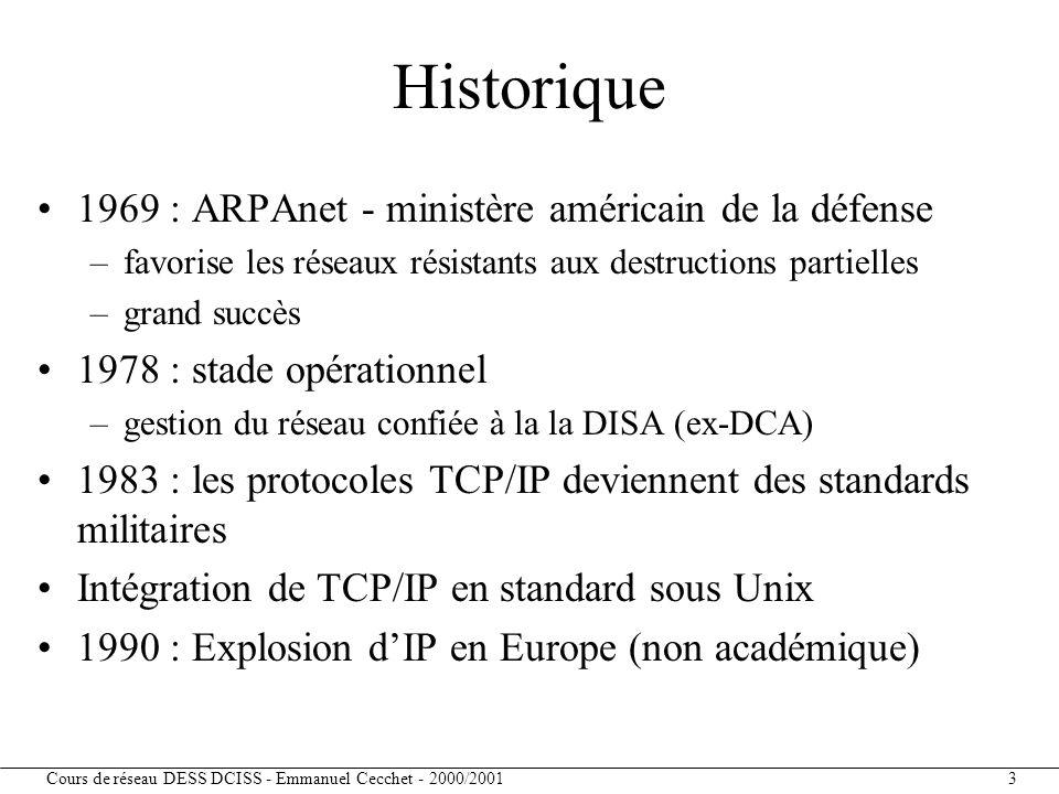 Historique 1969 : ARPAnet - ministère américain de la défense